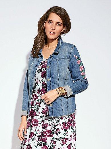 zizzi - La veste en jean, effet délavé et bords effilochés