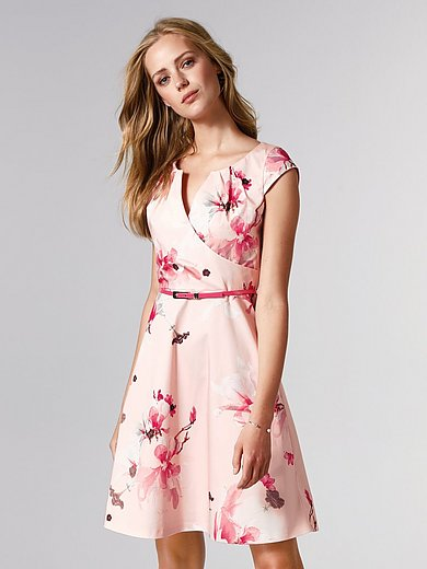 comma, - La robe en coton stretch, buste façon cache-cœur