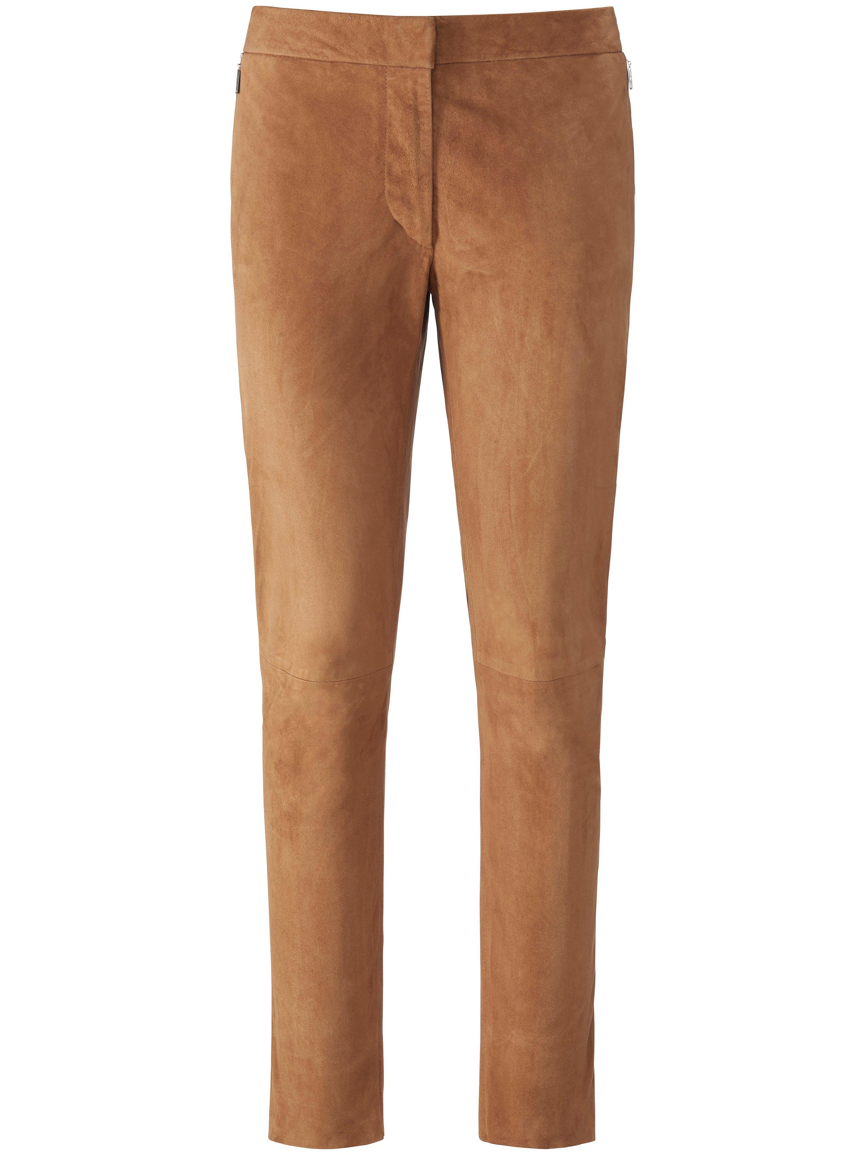 Leren broek in smal model geitensuèdeleer Van Fadenmeister Berlin bruin