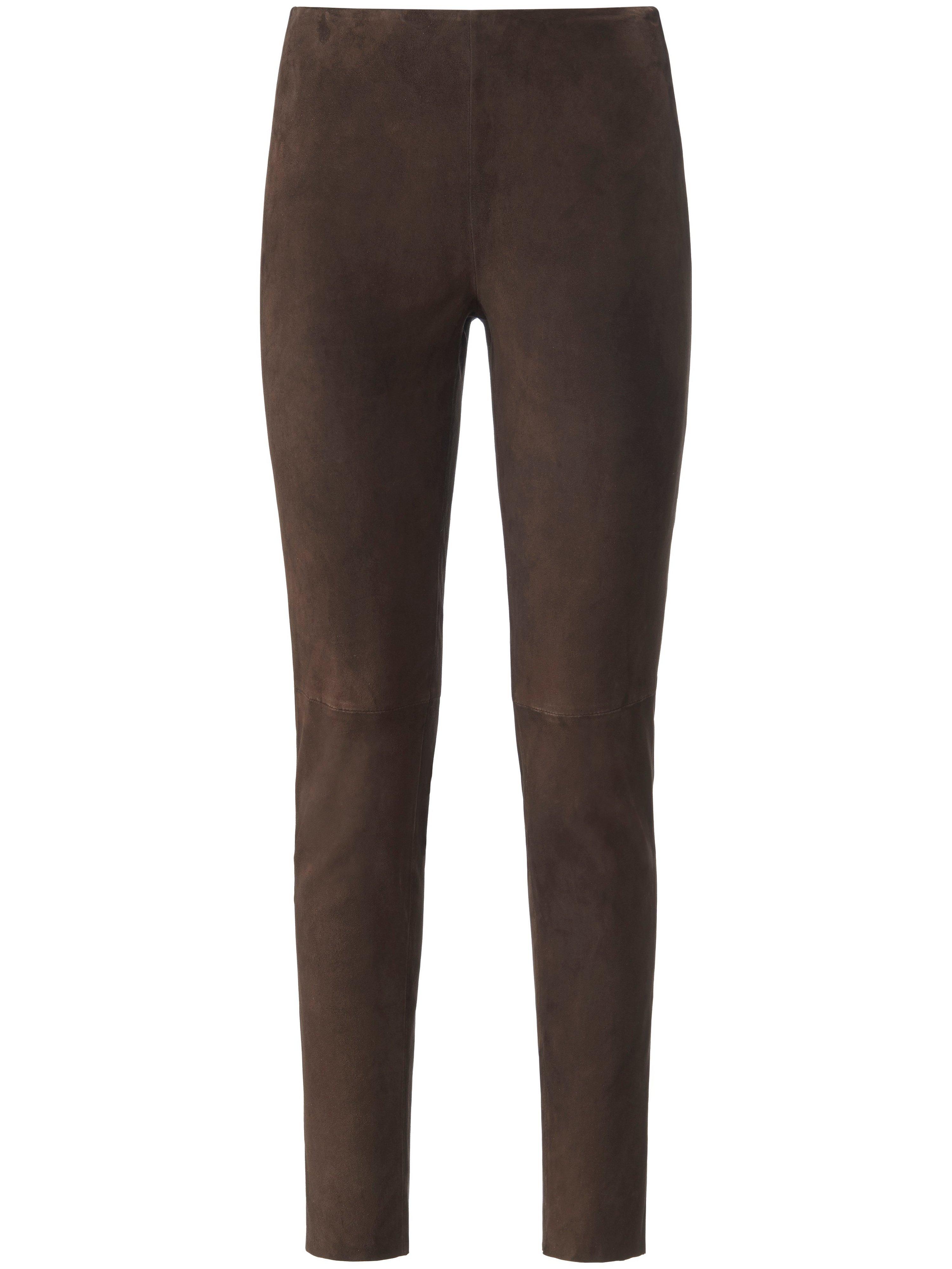 Leren broek fijn suedeleer in extra smal model Van portray berlin bruin