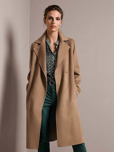 Marella - Coat with tie belt in 100% wool
