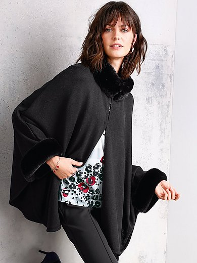 Basler - Knitted cape with faux fur