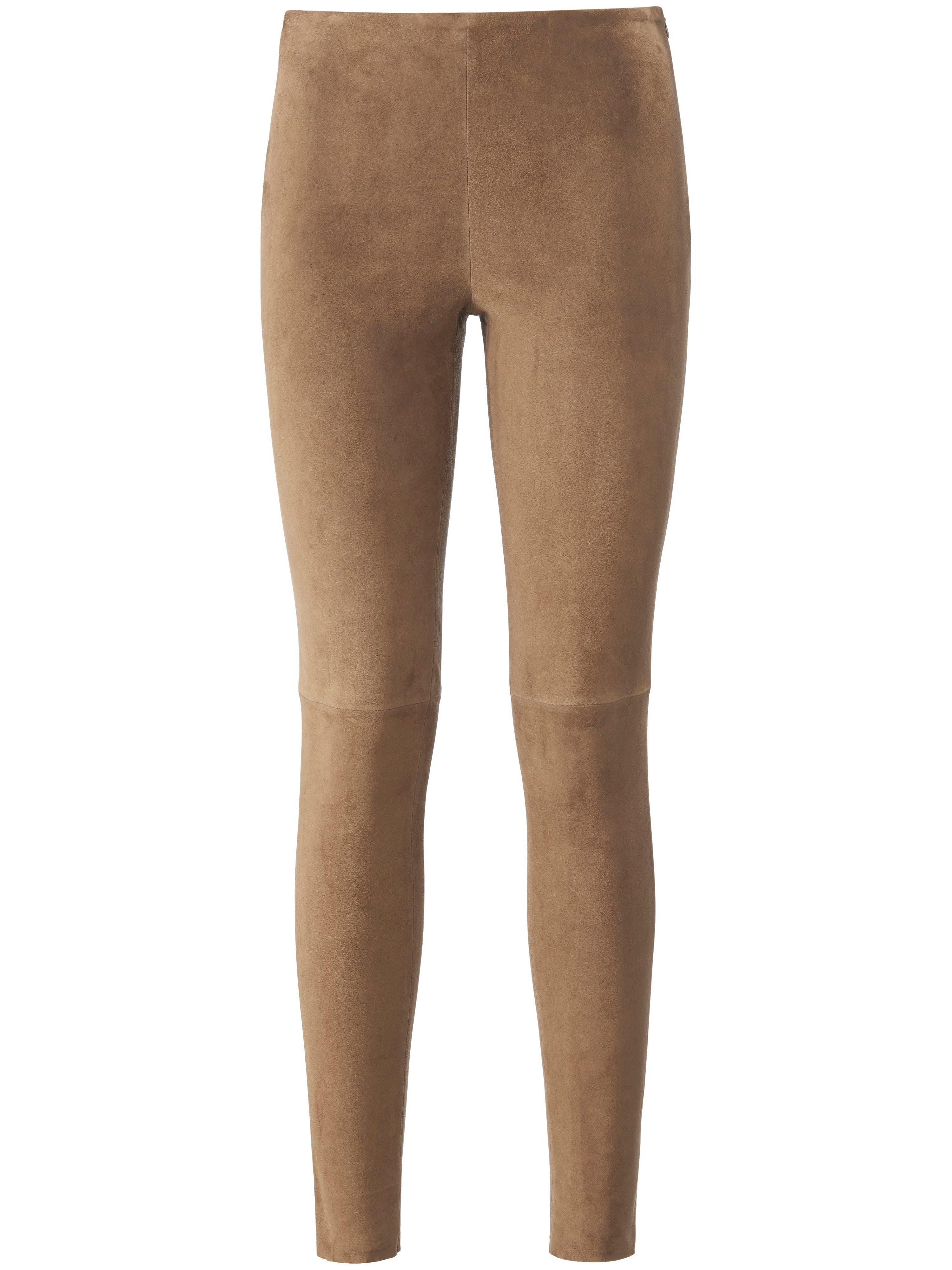 Leren broek fijn suedeleer in extra smal model Van portray berlin beige