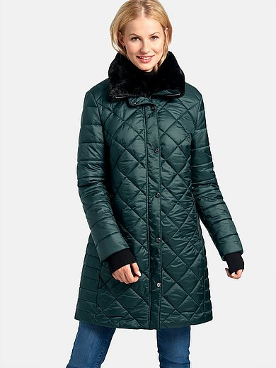 Basler - Quilted knee-length coat with fake fur collar