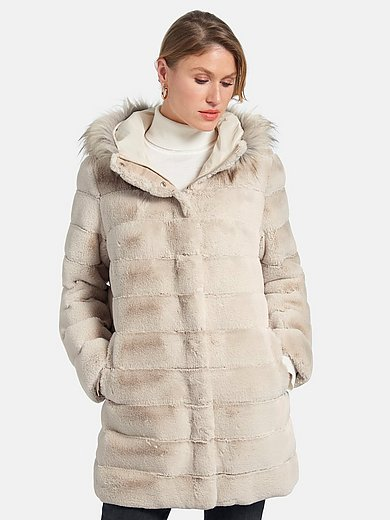 Basler - Lange jas met capuchon en changeant-effect