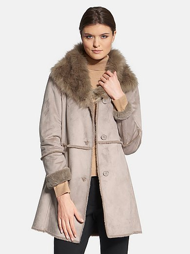 Basler - Faux suede coat with faux fur interior