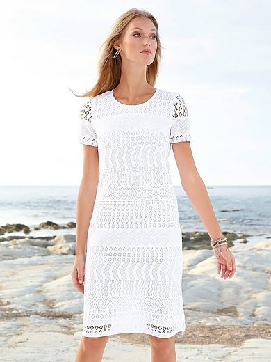 Peter Hahn - Jersey dress with round neckline and short sleeves