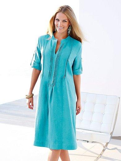 Anna Aura - Kleid aus 100% Leinen mit Stehkragen - Türkis