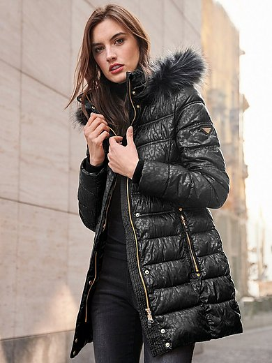 Canyon - Long quilted jacket with faux fur trim