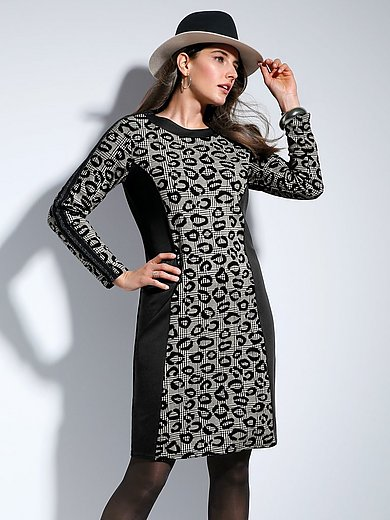 Doris Streich - Jacquard dress with houndstooth and leopard print