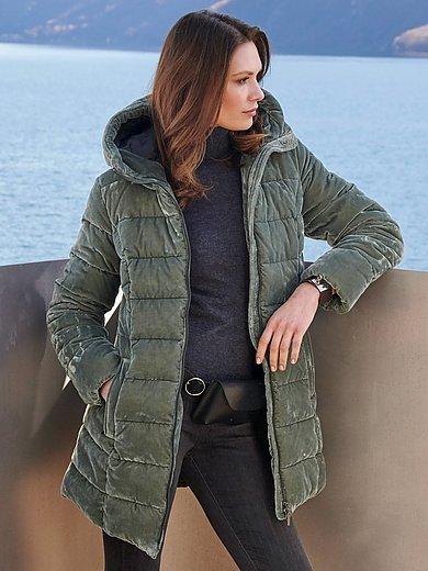Green Goose - Lang quiltet jakke i velourlook