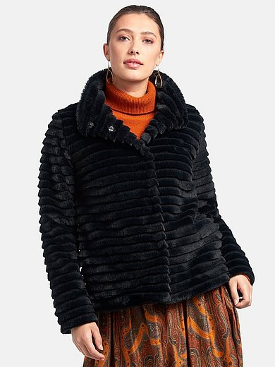MYBC - Faux fur jacket with stand-up collar