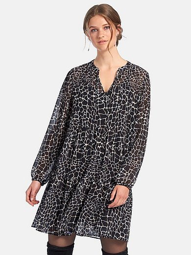 comma, - Dress with long sleeves and round neckline