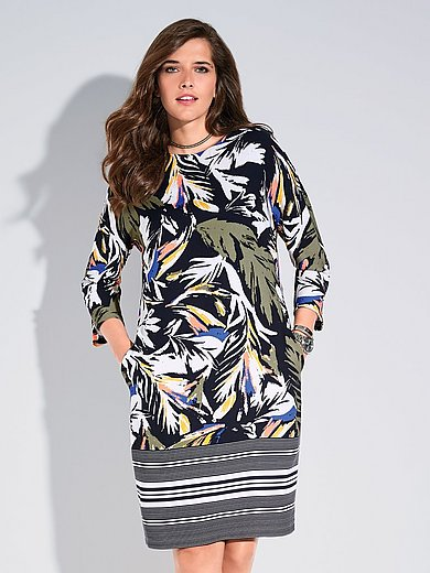 Samoon - La robe imprimée, manches 3/4, ligne droite