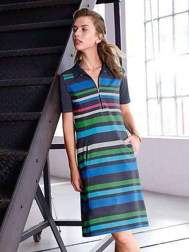 Looxent - Striped polo dress with short sleeves