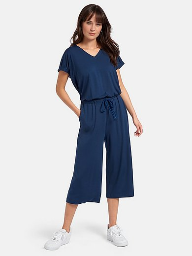 Peter Hahn - Jersey jumpsuit with V-neck and short sleeves
