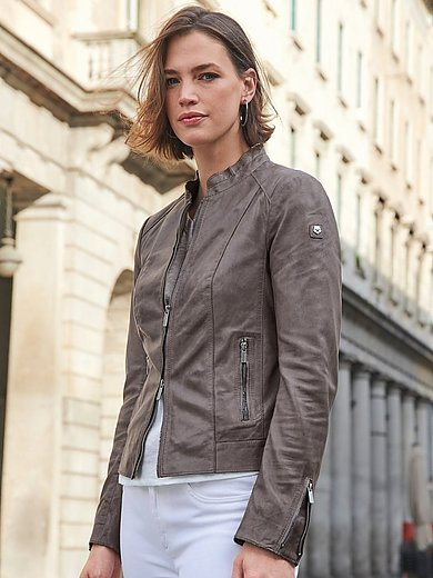 Milestone - Leather biker jacket with stand-up collar