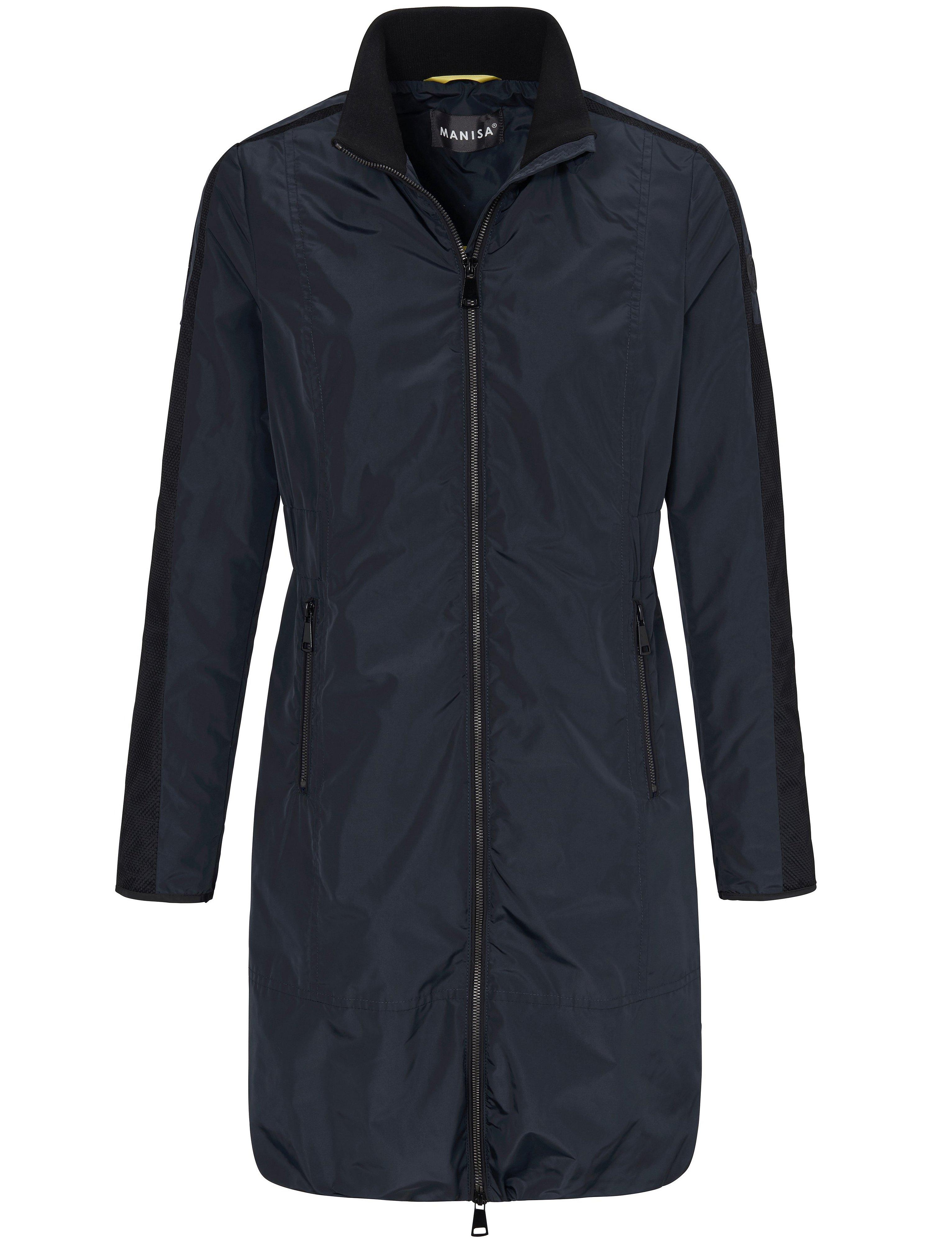 La veste longue à col montant  Manisa bleu taille 46