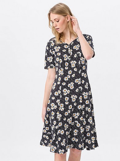 Green Cotton - Jersey dress in 100% cotton with daisy print