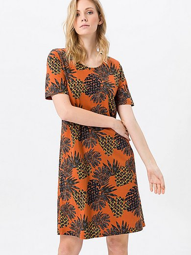 Green Cotton - Jersey dress in 100% cotton with leaf print