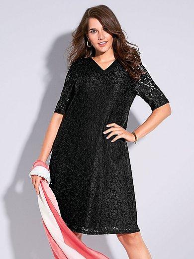 Samoon - Kanten jurk met halflange mouwen en V-hals