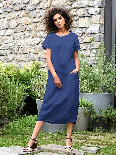 elemente clemente - Dress in 100% linen with short sleeves