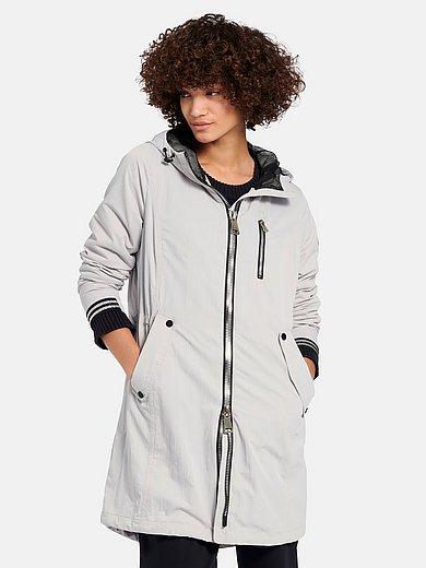 Manisa - Lange jas met capuchon en streepdetails