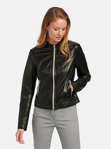 Milestone - Leather jacket with stand-up collar