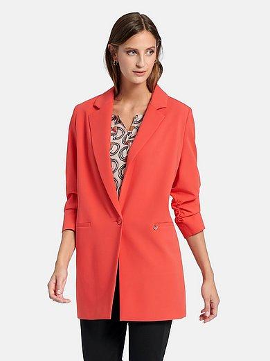 comma, - Long blazer with single button closure
