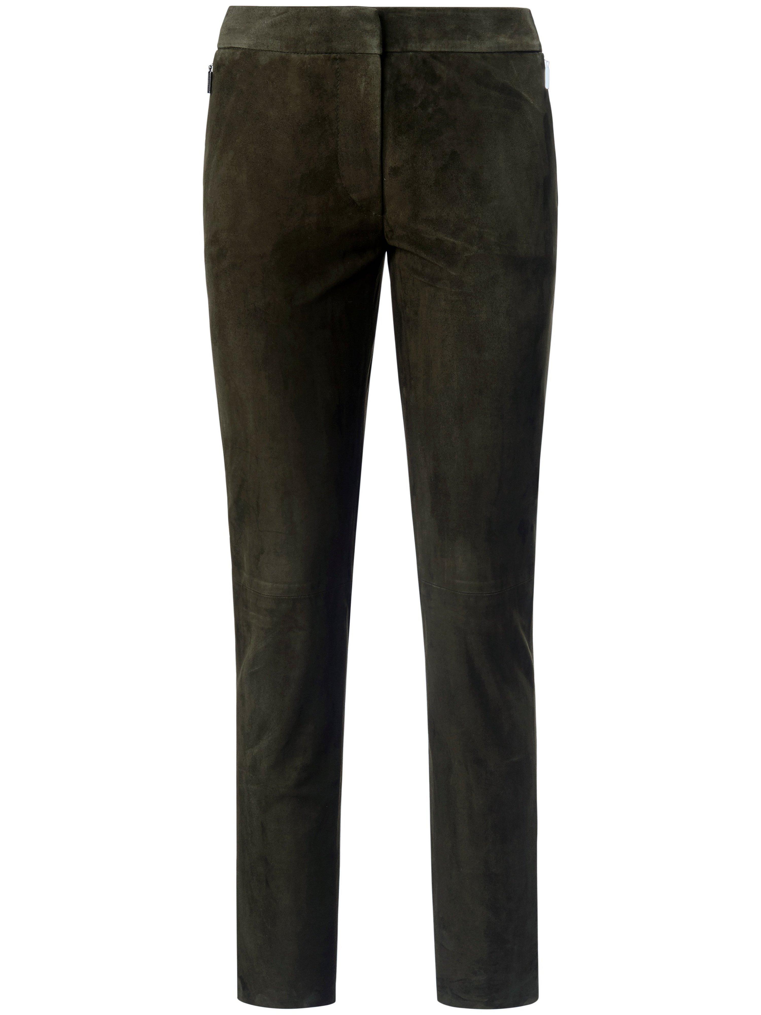 Leren broek in smal model geitensuèdeleer Van Fadenmeister Berlin groen