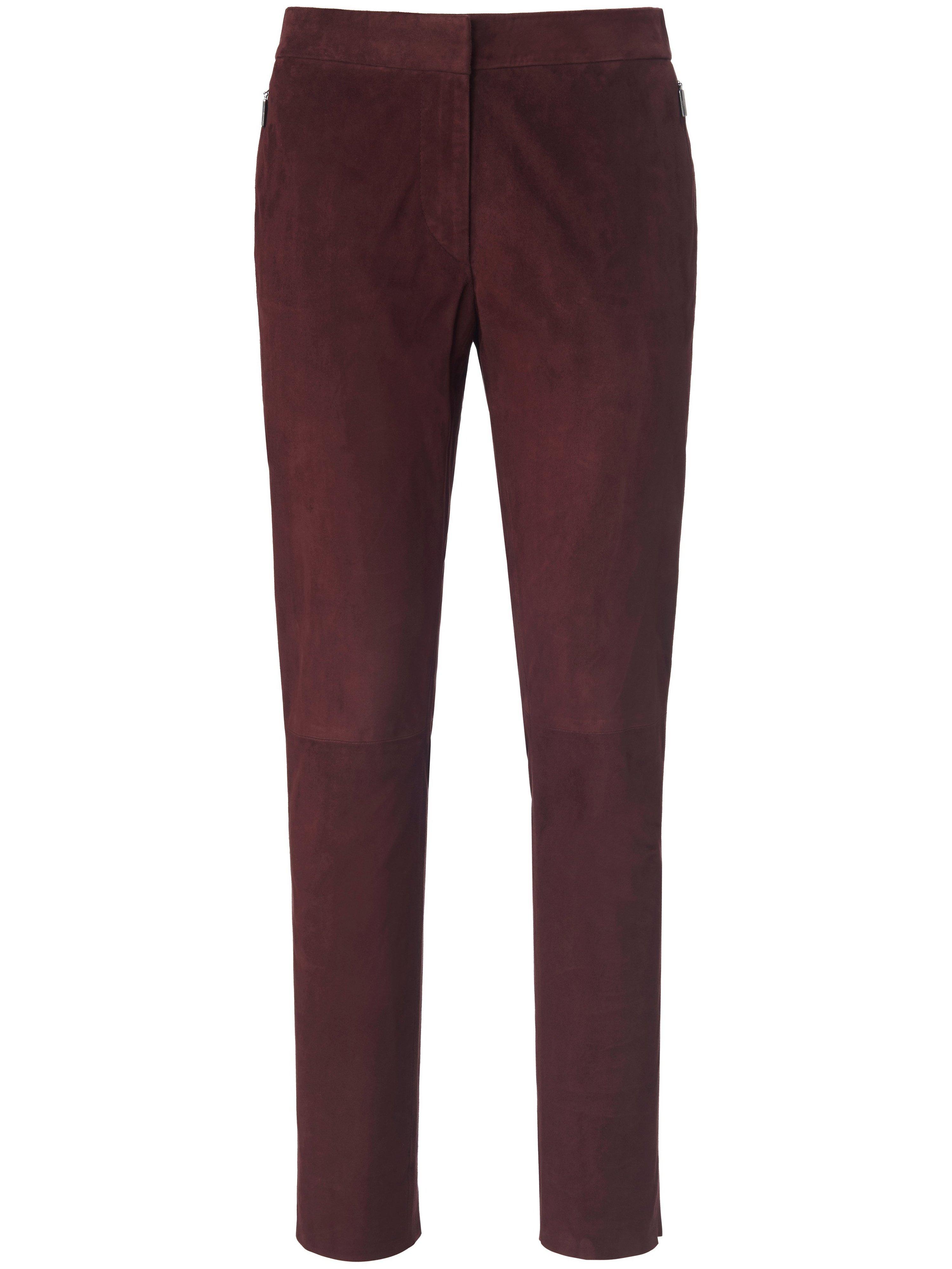 Leren broek in smal model geitensuèdeleer Van Fadenmeister Berlin rood
