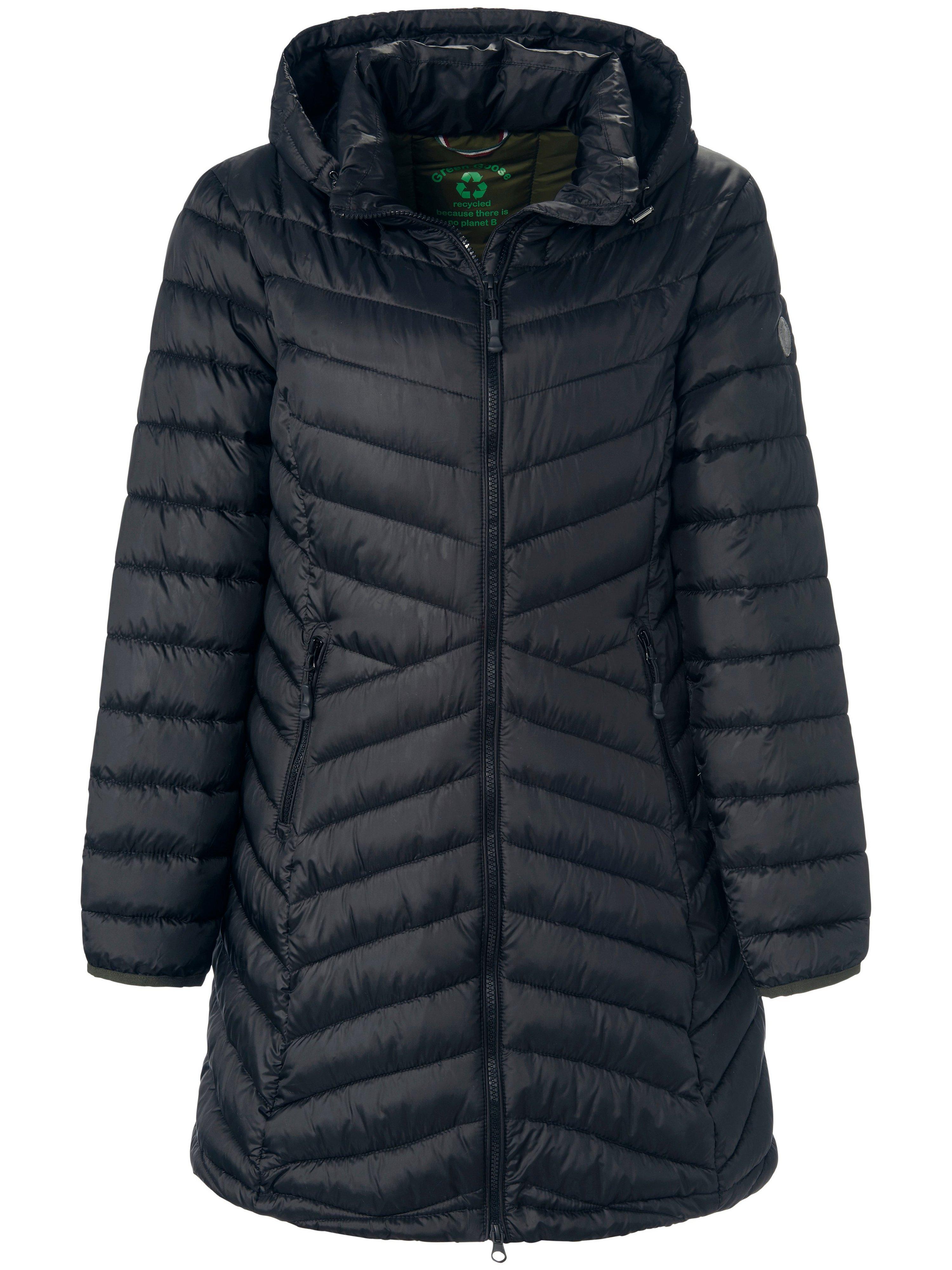Lange gewatteerde jas afneembare capuchon Van Green Goose zwart