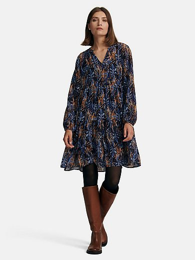 comma, - Dress with long sleeves and tunic neckline