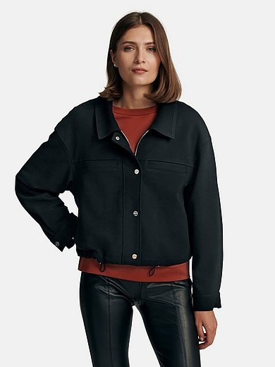 comma, - Jacket with turn-down collar and mock pockets