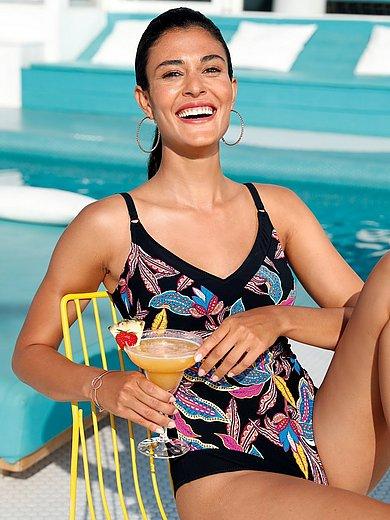 Rosa Faia - Swimsuit with multicoloured leaf motifs