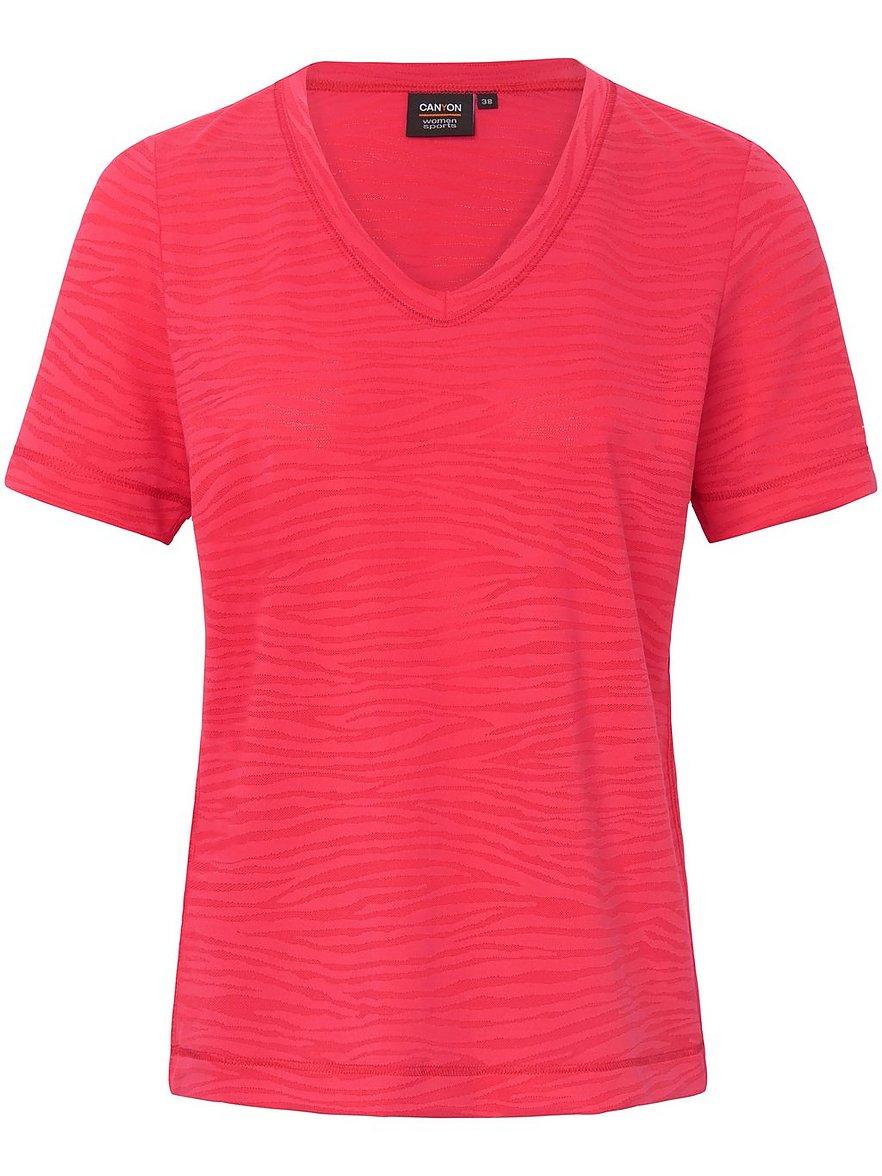 Artikel klicken und genauer betrachten! - Shirt von CANYON mit 1/2-Arm und schönem V-Ausschnitt. Superelastisch aus 86% Polyamid, 14% Elasthan mit einem leicht schimmernden Dessin in Ausbrenner-Optik. Länge ca. 62 cm. Dieses Shirt ist maschinenwaschbar. Schonwaschgang 30°. Chlorbleiche nicht möglich. Nicht heiß Bügeln. Keine chemische Reinigung. Trocknen im Tumbler nicht möglich. Farbe: Rot. Erhältlich in den Größen: 36, 40, 44, 48 | im Online Shop kaufen