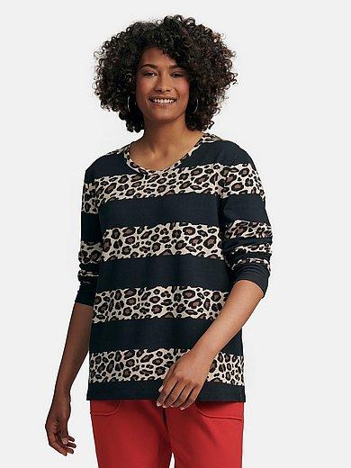 Emilia Lay - Le sweat-shirt à rayures avec imprimé léopard