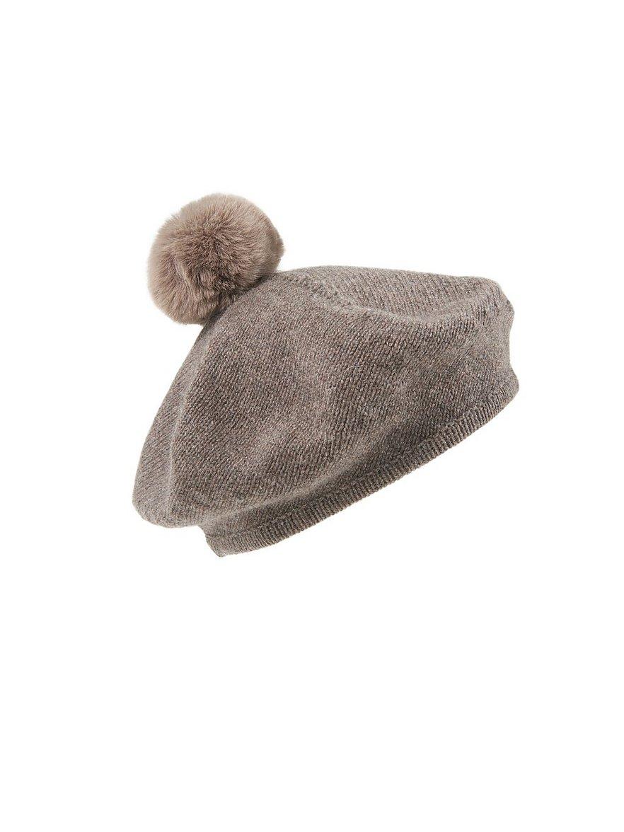 peter hahn cashmere - Baskenmütze aus 100% Kaschmir  beige
