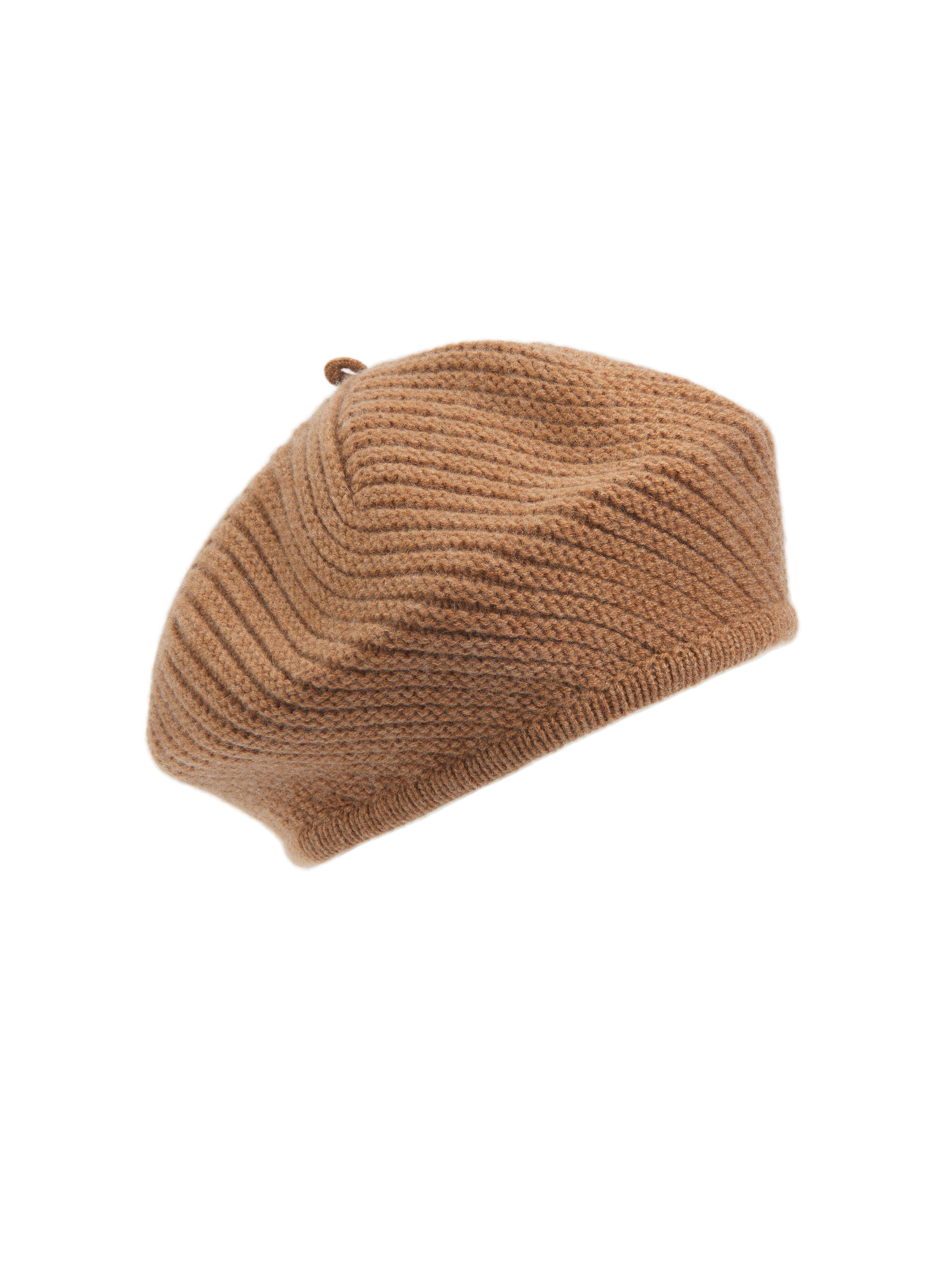 peter hahn cashmere - Baskenmütze aus 100% Premium Kaschmir  braun