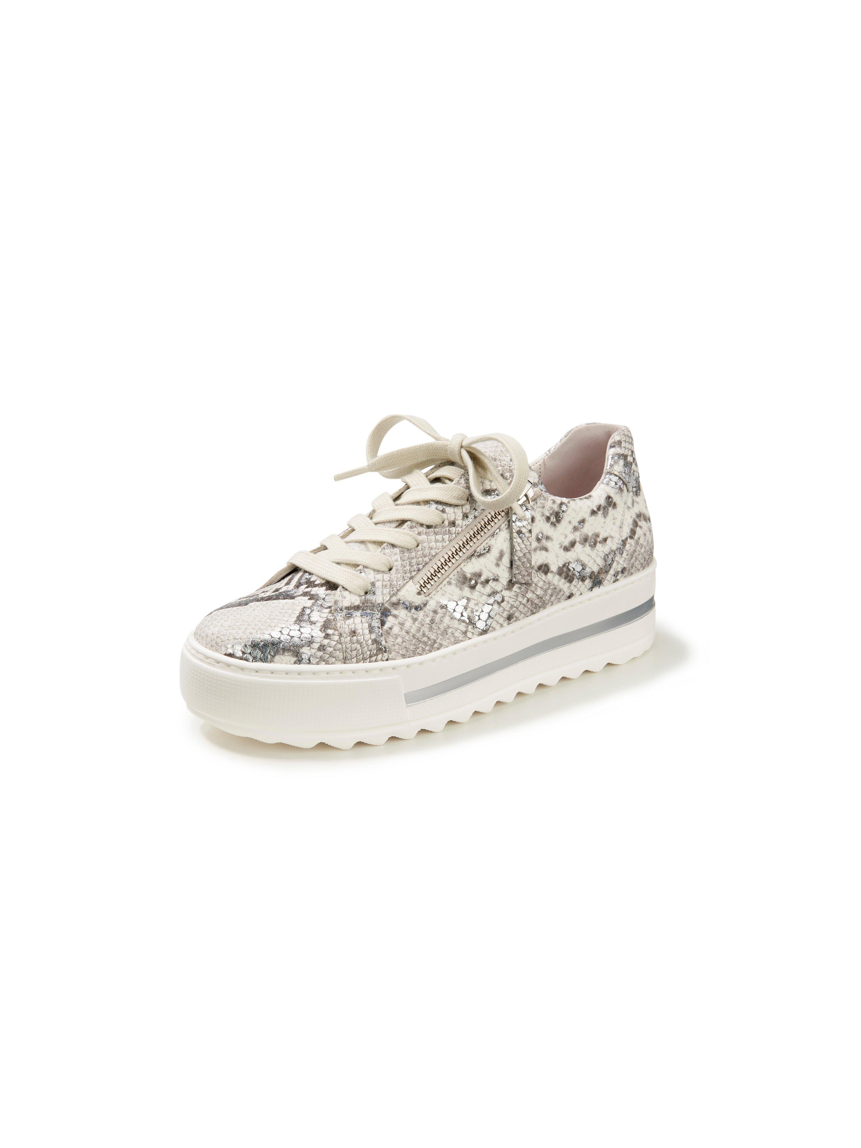 Sneakers van geitensuèdeleer met slangendessin Van Gabor Comfort wit