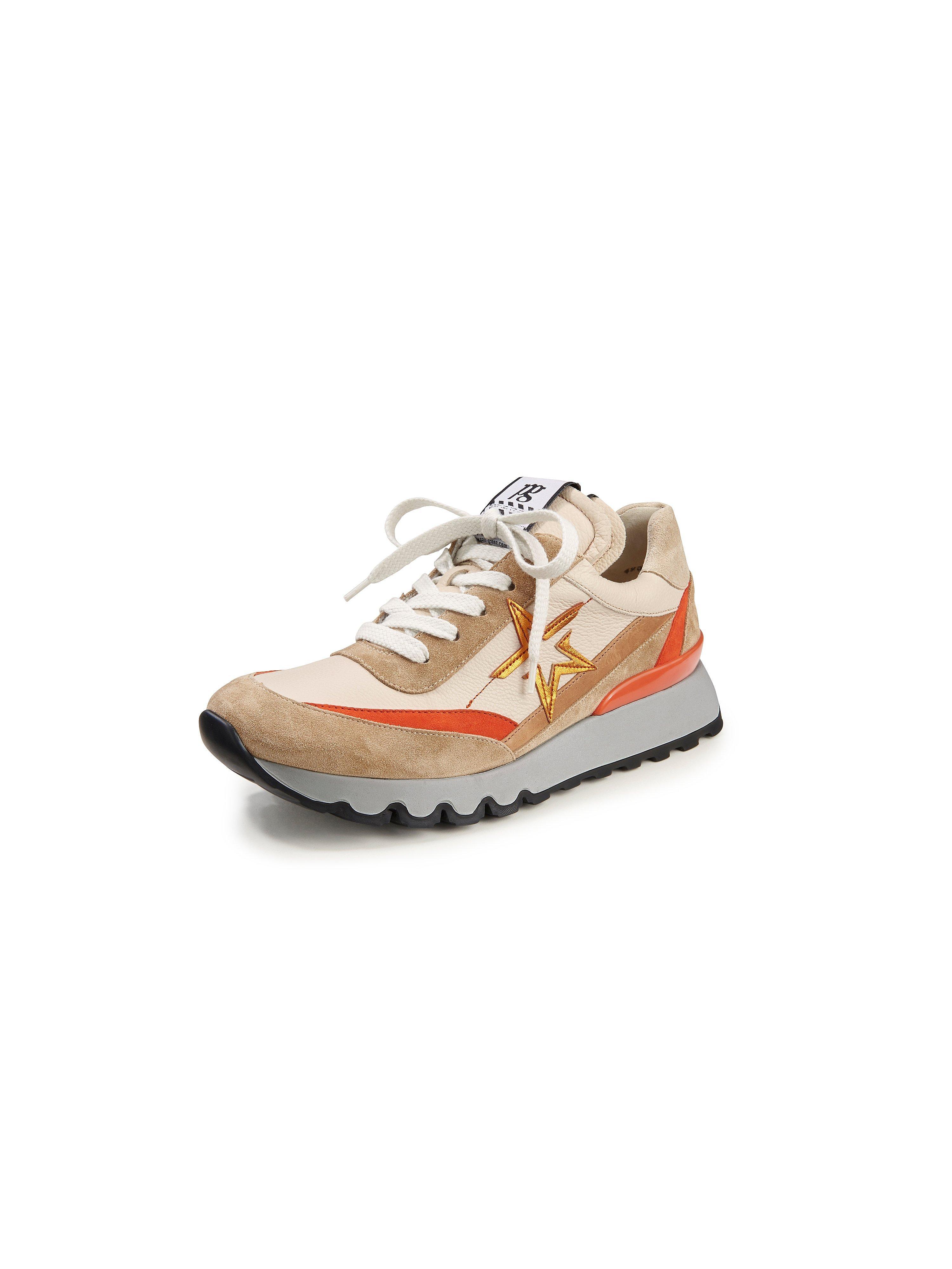 Sneakers van kalfsnappaleer met suèdeleer Van Paul Green beige