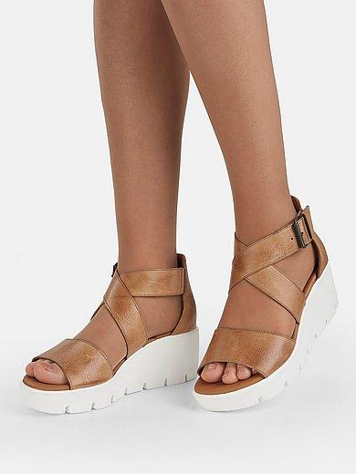 Sandalen met plateauzool van kalfsnappaleer