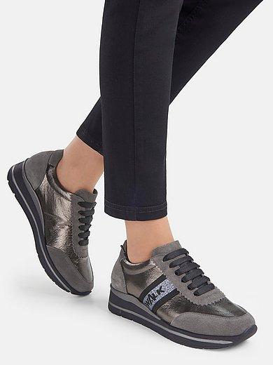 Melluso Walk - Sneakers van nappaleer met tekst op glitterband