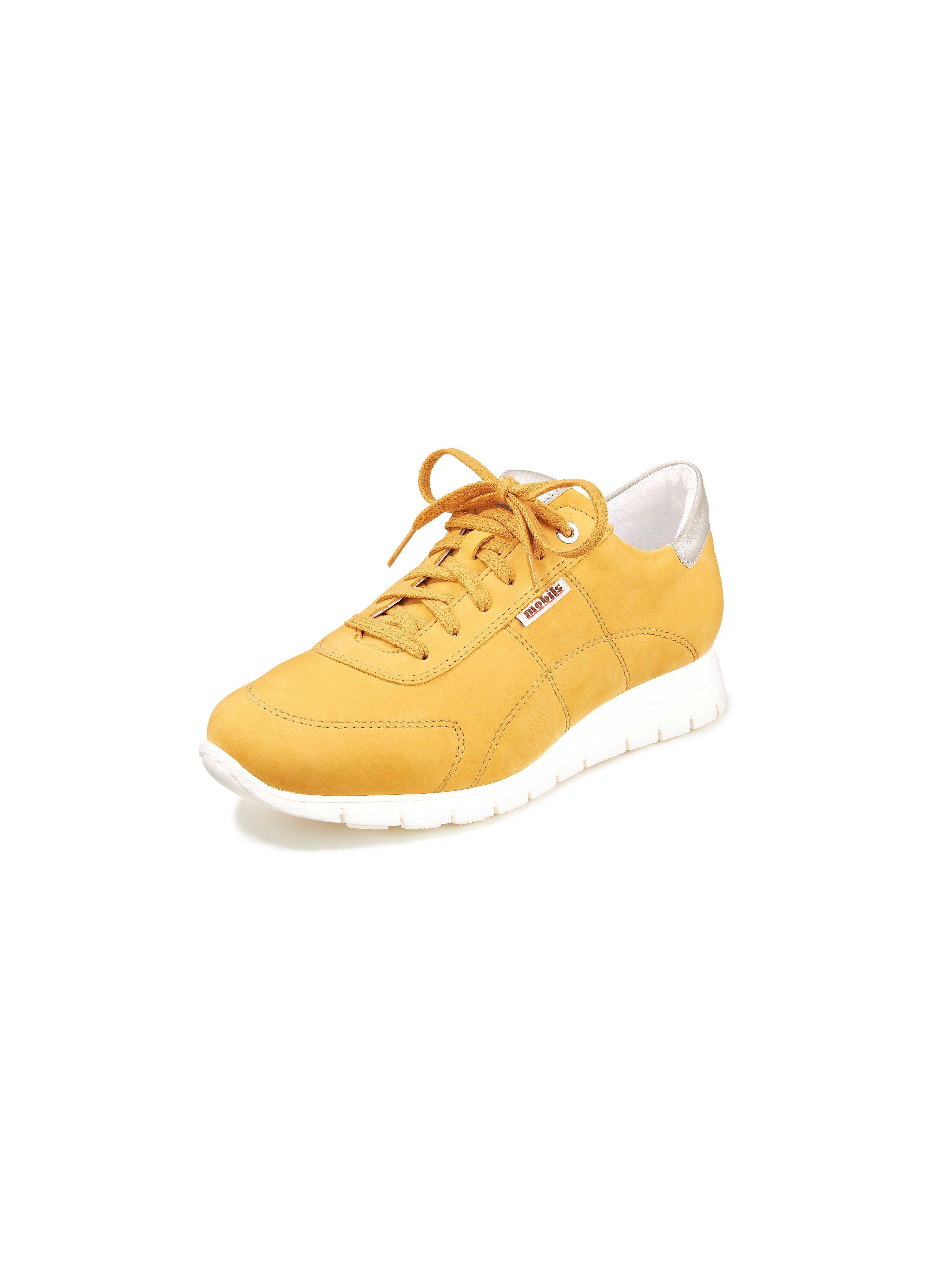 Sneakers Dorothe van kalfsnubuckleer Van Mobils geel
