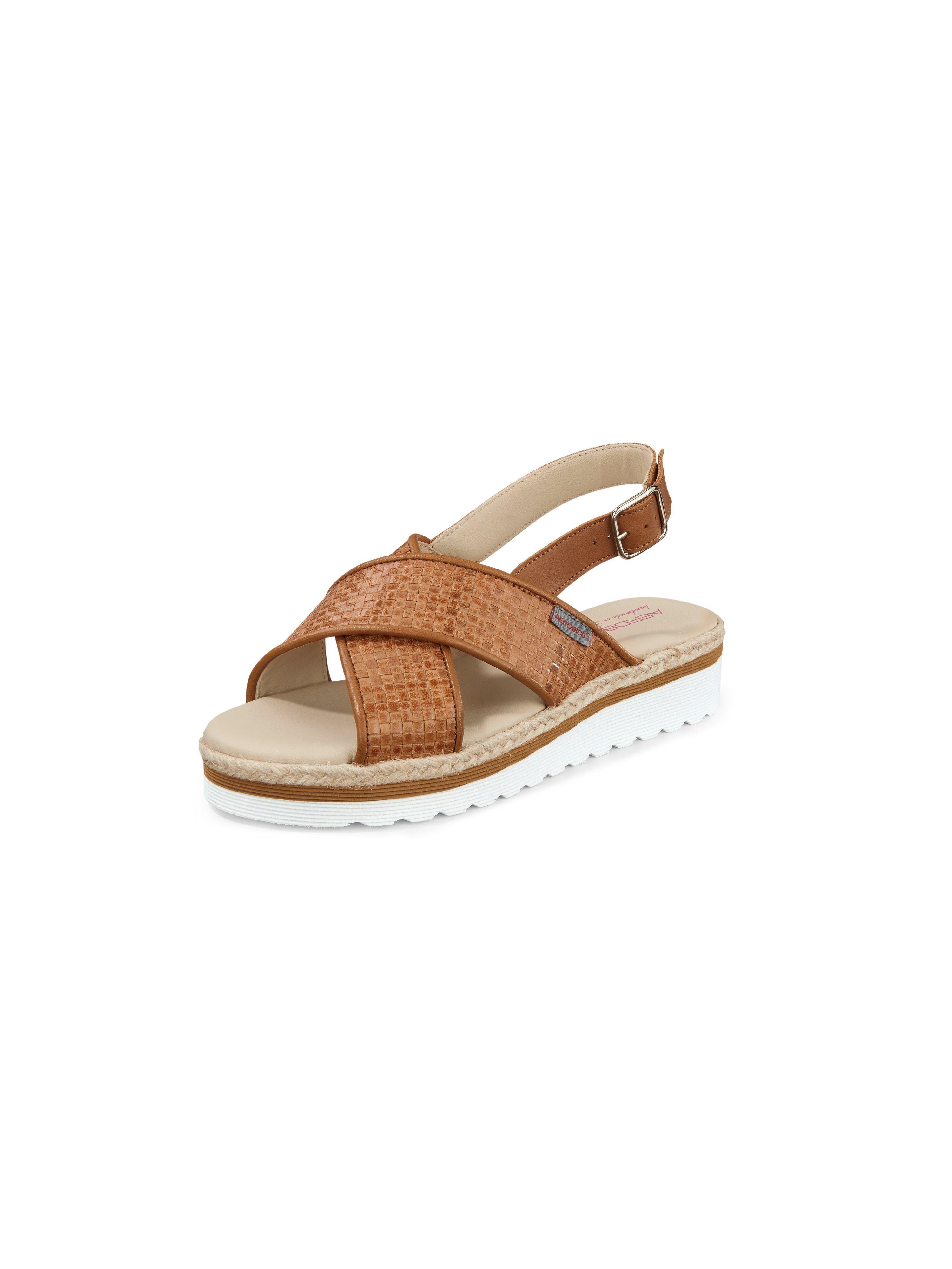 Gevlochten sandaaltjes Woven van geitennappaleer Van Aerobics bruin