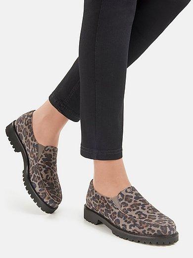 Ledoni - Instappers van geitensuèdeleer met luipaardprint