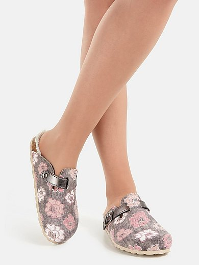 Peter Hahn - Slippers van textielmateriaal met bloemborduursel
