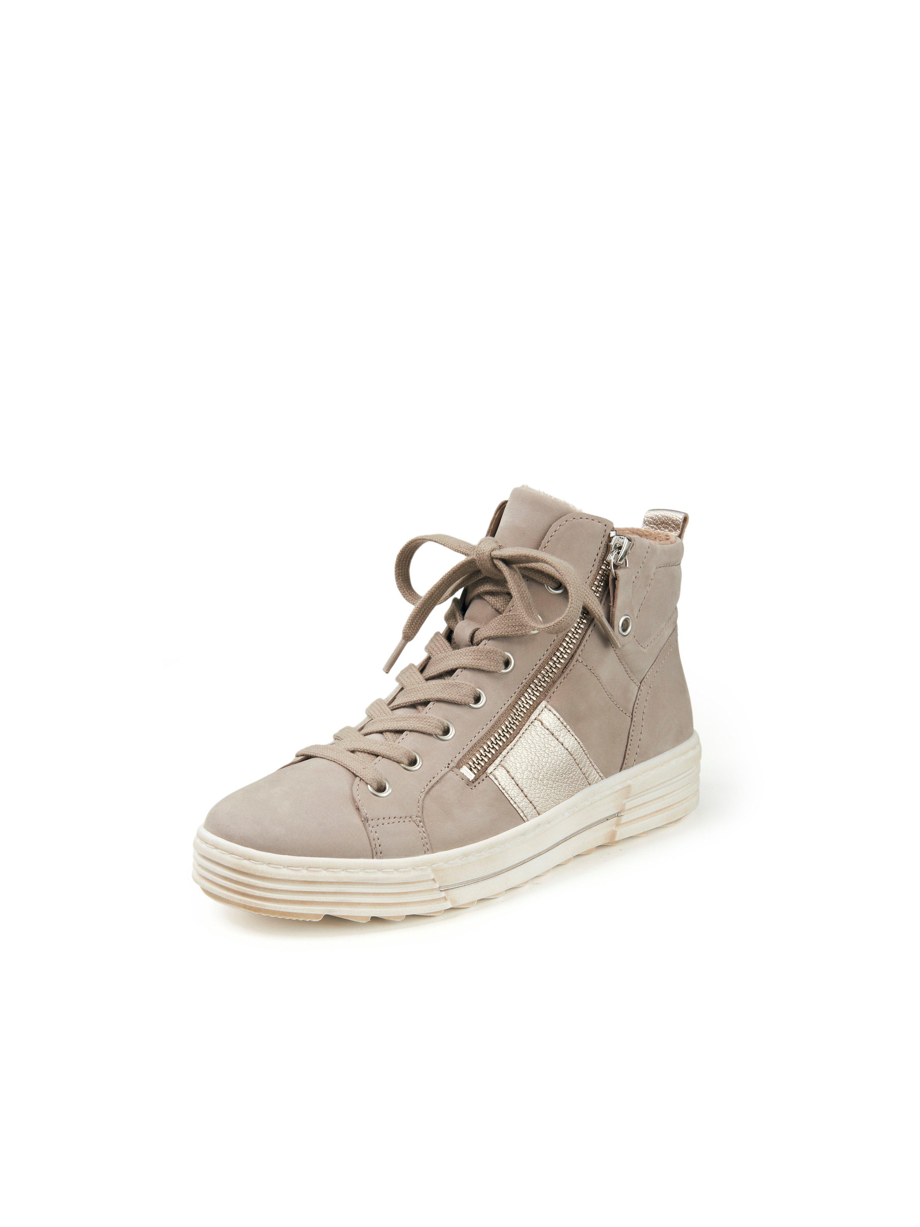 Enkelhoge sneakers kalfsnubuckleer Van Gabor beige