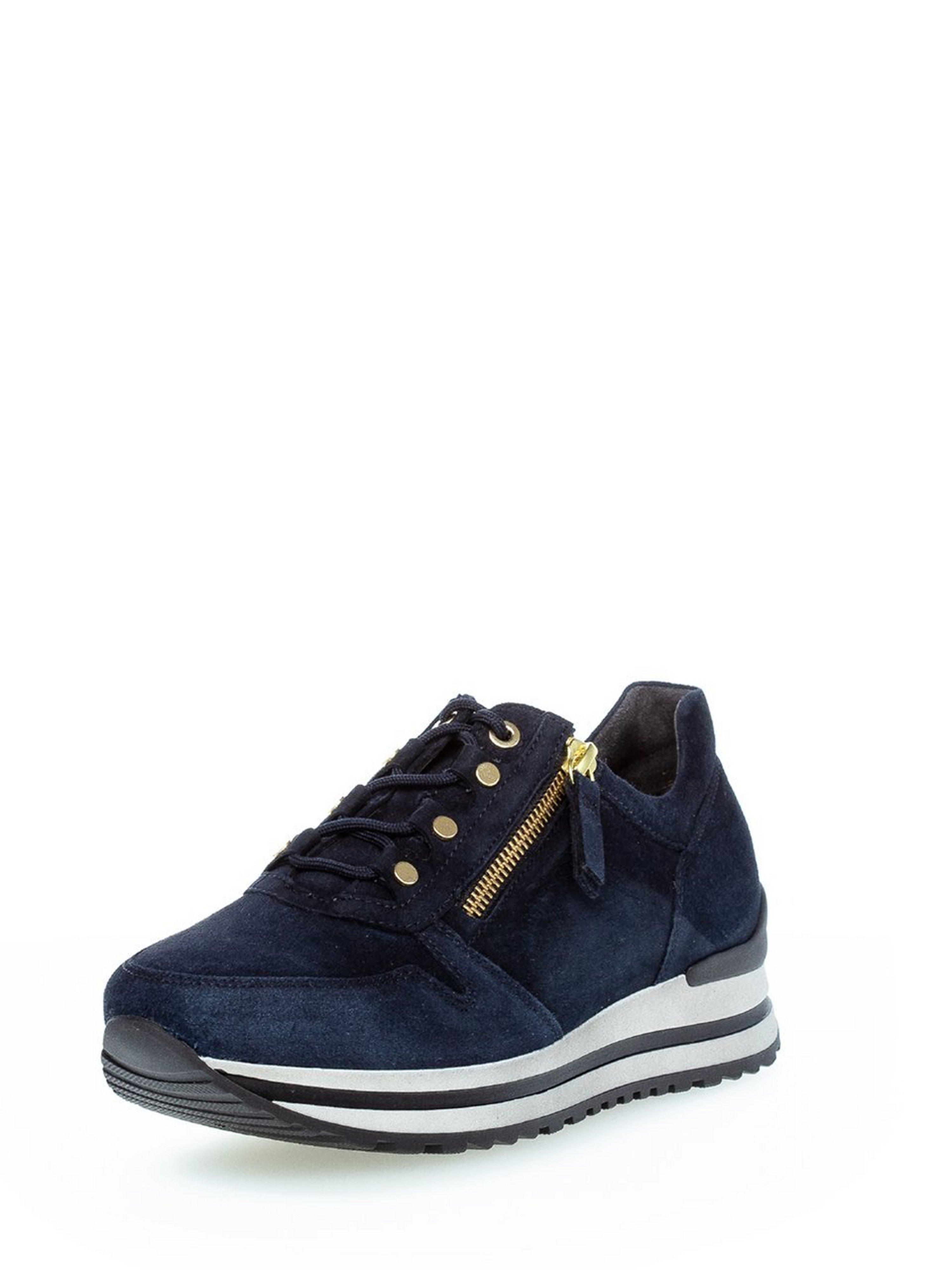 Sneakers geitensuèdeleer Van Gabor Comfort blauw