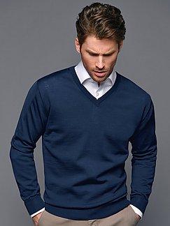 Peter Hahn - V-neck jumper in 100% new milled wool design Marco